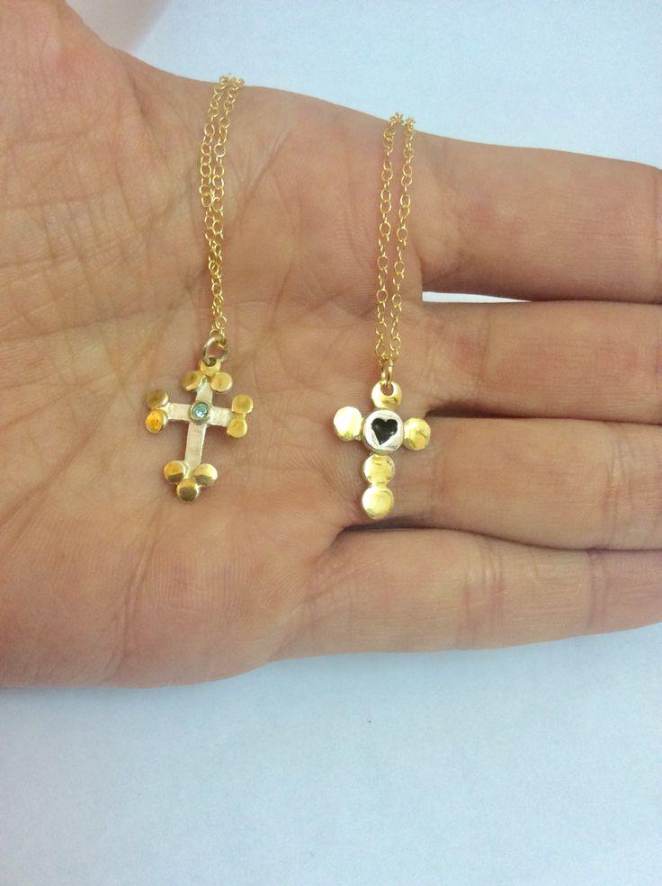 Left: classic cross Right: black heart cross Silver - swarofski - enamel