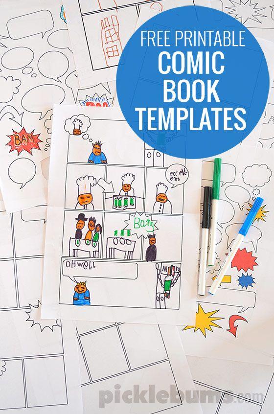 Free Printable Comic Book Templates! Hojas con tirillas cómicas para imprimir gratis! Actividades para desarrollar la escritura creativa de los niños!
