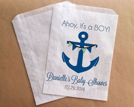 ahoy its a boy baby shower favor bag nautical by