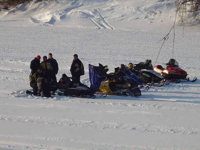 Snowmobiles on Thames River #ChathamKent #Ontario #snowmobiles