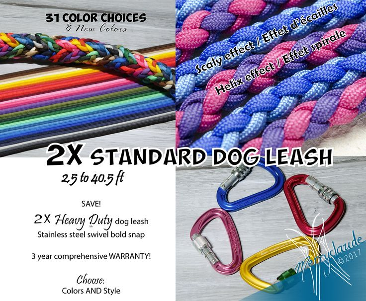 2X 2.5 to 40.5 ft - Standard Paracord Dog leash - 4 strands - Screw climbing carabiner - Heavy Duty - Customizable