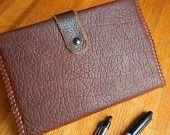 Leather Journal and Cover- Buffalo Brown Leather with Book Mark and Clasp