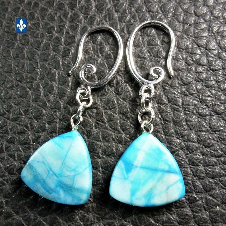 ♥ EASY SHIP TO USA  All Ocean Blue Agate Triangle & Silver Plated Earrings