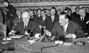 Treaty of Rome-Christian Pineau, left, and Maurice Faure, both representing France, join other ministers from the six founding members to sign the Treaty of Rome in 1957.-At a practical level, the Treaty established four institutions - a Commission, a Council of Ministers, a European Parliament and a European Court of Justice. These were to be staffed by officials, ministers, judges and parliamentarians from member states. They were in charge of creating closer co-operation on a range of…