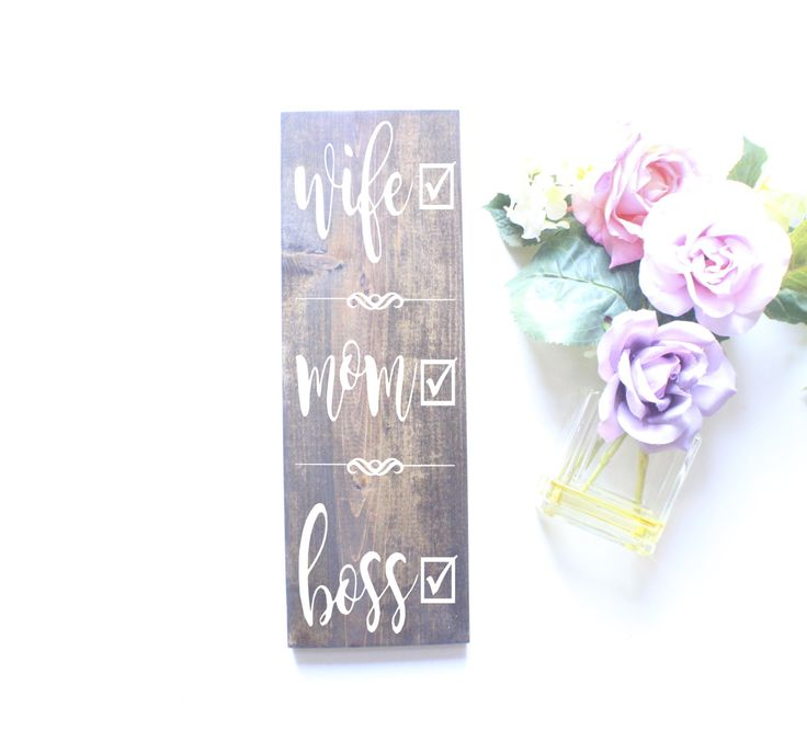 Wife Mom Boss-Vertical | Home Decor | Wedding Date Sign | Wooden Sign by StudioRosewood on Etsy