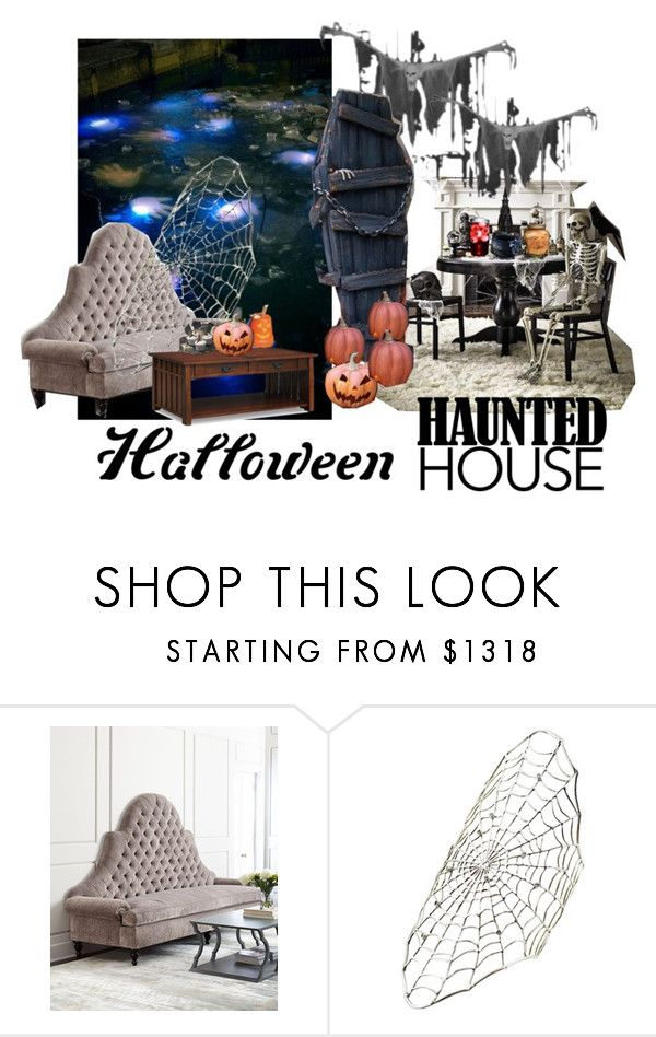 Halloween Haunted House by wasupfirefairy on Polyvore featuring interior, interiors, interior design, home, home decor, interior decorating, Old Hickory Tannery, Ayaka Nishi, Halloween and hauntedhouse