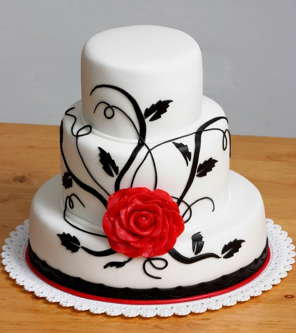 White Black And Red Cake
