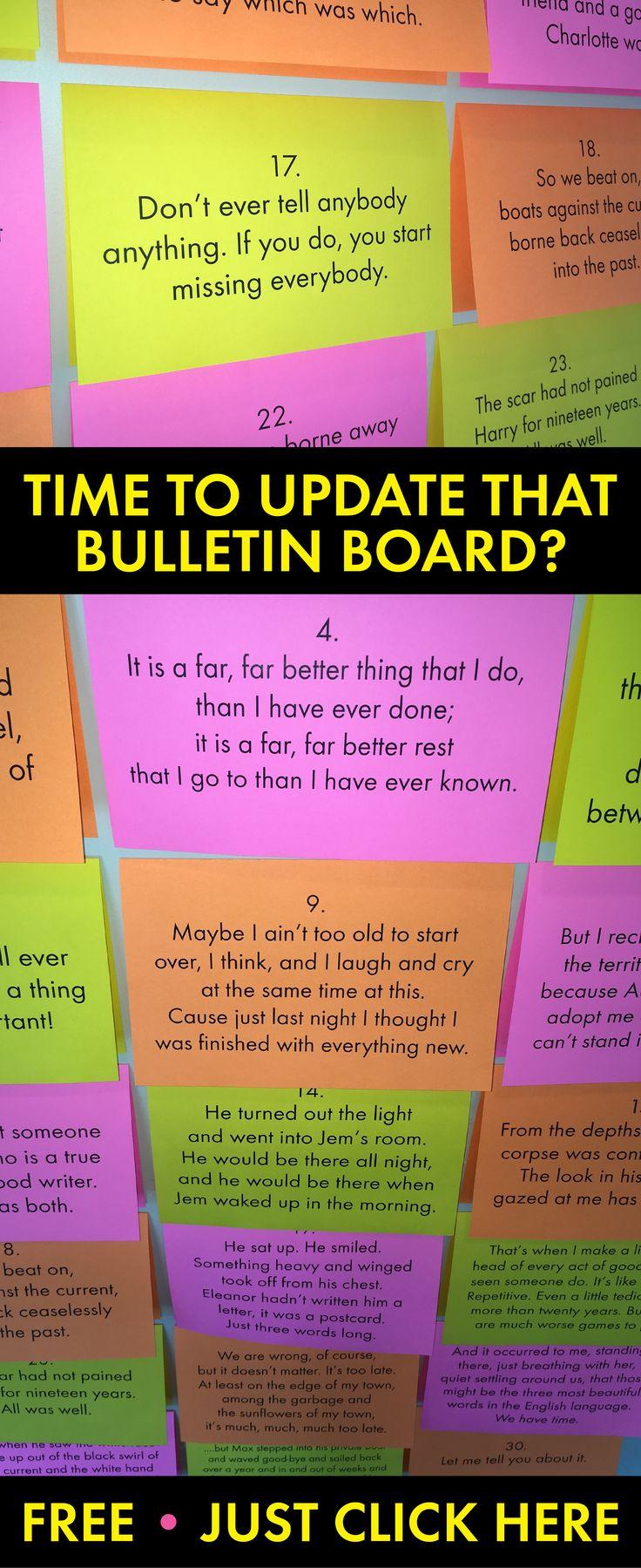 Free bulletin board materials. Just print and post! #ELA #Englishteacher #library #bulletinboard #free #freebie