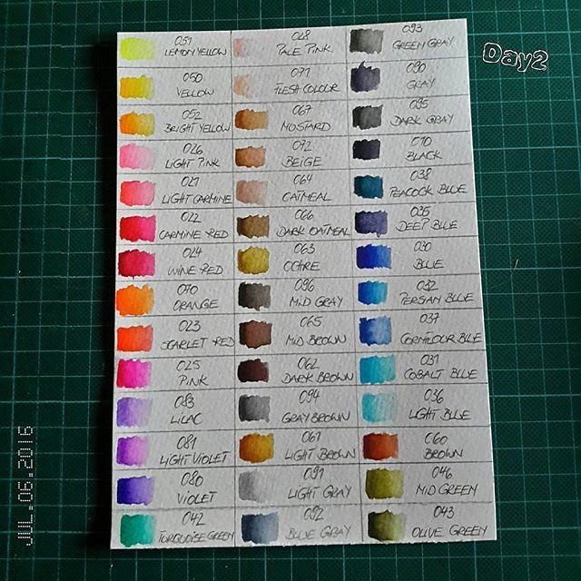 Day2  #thedailymarker30day by @kathyrac 😍  Today I managed just my color palette of my new #zigrealbrushpen . Busywork.😉 Heute habe ich nur meine Farbpalette von meinen neuen Stiften geschafft. Fleißarbeit. 😉  #stifte #pencil #wip #wasserfarben #watercolo #watercolorpainting #painting #fun #love #spass #challenge #kathyrac #zigmarkers #stempeln #stamping #stempelnmachtspaß #cardmaking #vcard #kartebasteln #crafting #craft #colouring #colorful #homesweethome #farbenfroh #work #marker