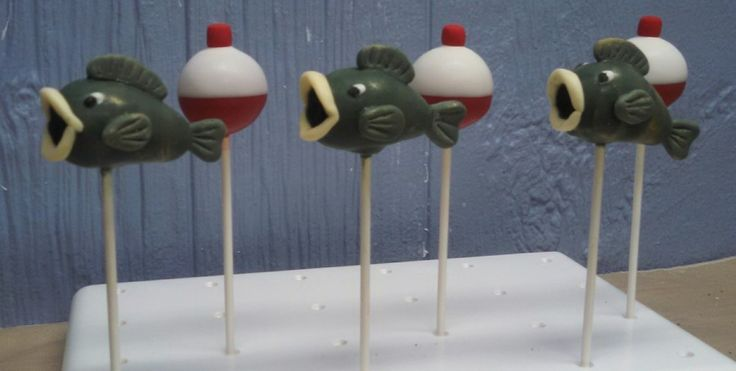 Fish and fishing bobber cake pops
