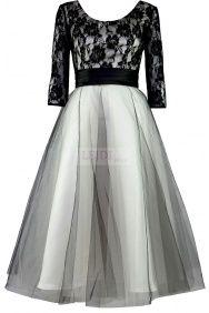 Czarno beżowa koronkowa sukienka MIDI na wesele