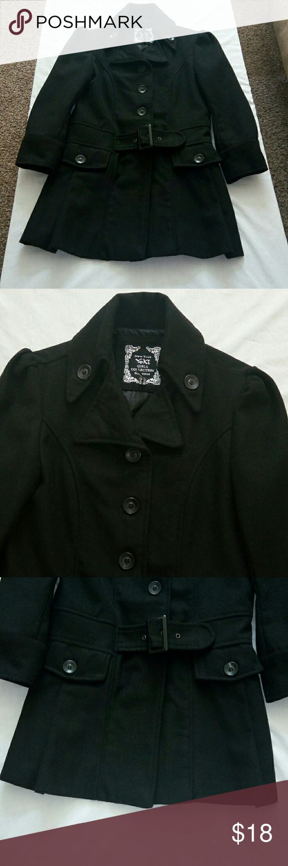 New York Yokz Girls Peacoat Size Large Pre owned New York Yokz girls collection lined peacoat. Size large. Front opening with button s and a belt, long sleeve New York Girls collection Jackets & Coats Pea Coats