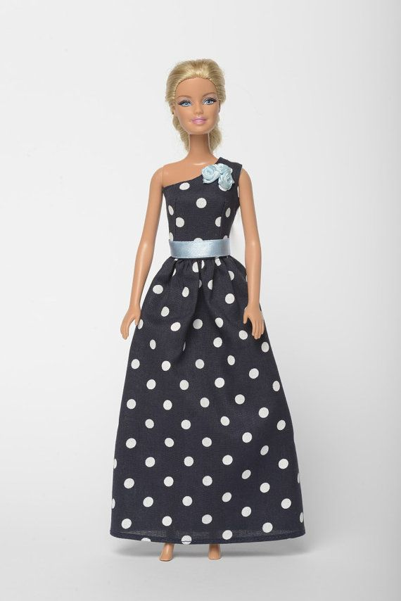 "Handmade Barbie doll clothes, Barbie dresses, Barbie outfit - ""Small evening dots 1."" Barbie dress  (267)"