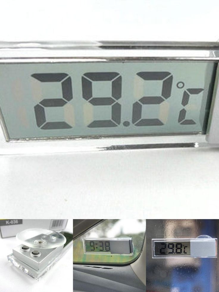 [Visit to Buy] Good Design Suction cup type car thermometer digital display thermometer transparent liquid crystal display #Advertisement