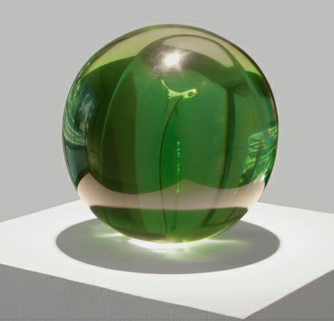 "Helen Pashgian, ""Untitled (Sphere Green, Acrylic Insert)"" (2011), epoxy and acrylic, 8"" diameter (via Ace Gallery)"