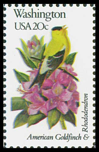 1982 20c Washington State Bird & Flower - Catalog # 1999 For Sale at Mystic Stamp Company