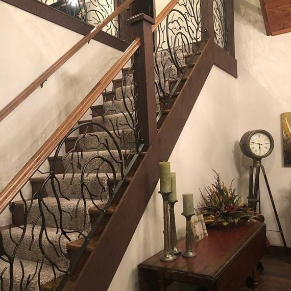 Hand Forged Forest Tree Branch Metal Iron Stair Railings With Etsy In 2020 Iron Stair Railing Wrought Iron Stair Railing Metal Stair Railing