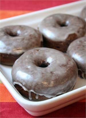 chocolate baked cake donut - I think it would be fun to serve donuts at a late time of the reception