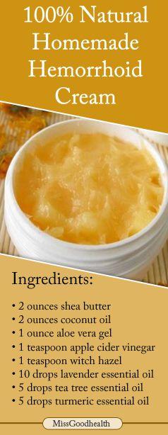 http://missgoodhealth.com/homemade-hemorrhoid-cream-with-turmeric-lavender-tea-tree-oil/ 100% homemade natural hemorrhoid cream