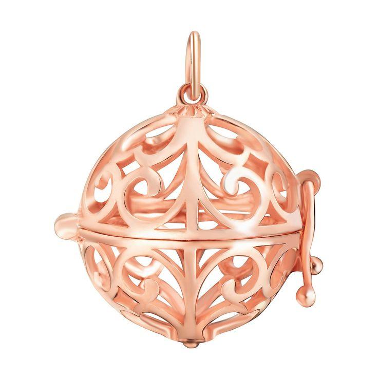 Pandantiv Nahla Jewels argint placat cu aur rose sfera dantelată Mon Coeur