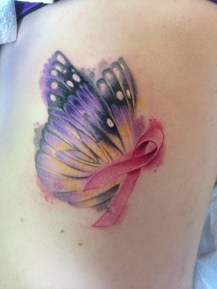 Watercolor Butterfly with breast cancer ribbon - Tattoo by Laz Barath