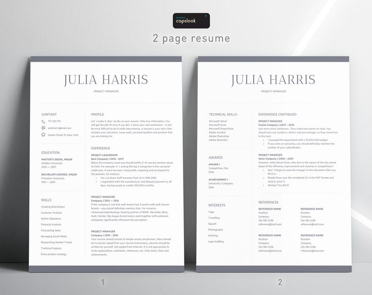 CV Template + Cover Letter Professional and Creative Resume
