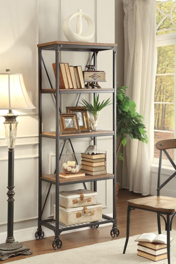 Millwood Rustic Industrial 26 Inch Wide Metal Bookshelf | Shelves