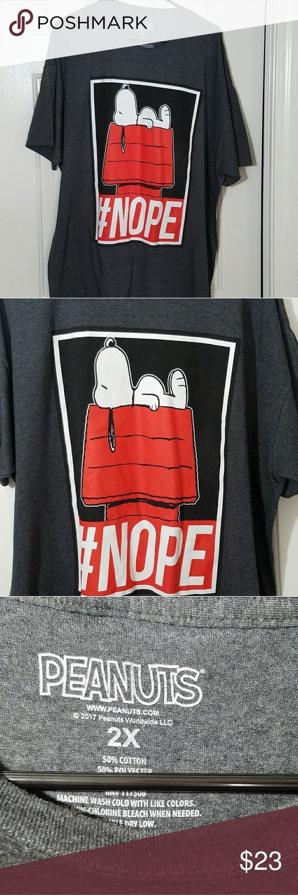 Snoopy Black Tee Shirt Dog House Pre-owned inspected thoroughly found no major issues did see slight minimum fade on art barely can see. This is a Peanuts brand graphic style short sleeve t-shirt black red white 2XL size cotton blend material. Peanuts Shirts Tees - Short Sleeve