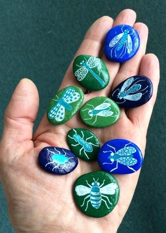 Painted Rock Bugs Set Of Nine Tiny     | Rock Painting | Painted