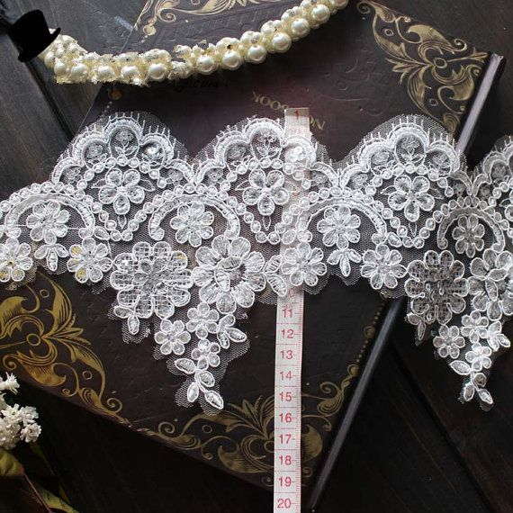Beatiful Alencon Lace Trim with Sequins for Bridals  by lacetime