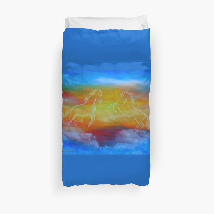 Duvet Cover, bed decor, for sale, home,accessories,bedroom,decor,cool,unique,fancy,artistic,trendy,unusual,awesome,beautiful,modern,fashionable,design,items,products,ideas,blue,colorful,sunset,sky,scene,horses,wild animals,fantasy,redbubble