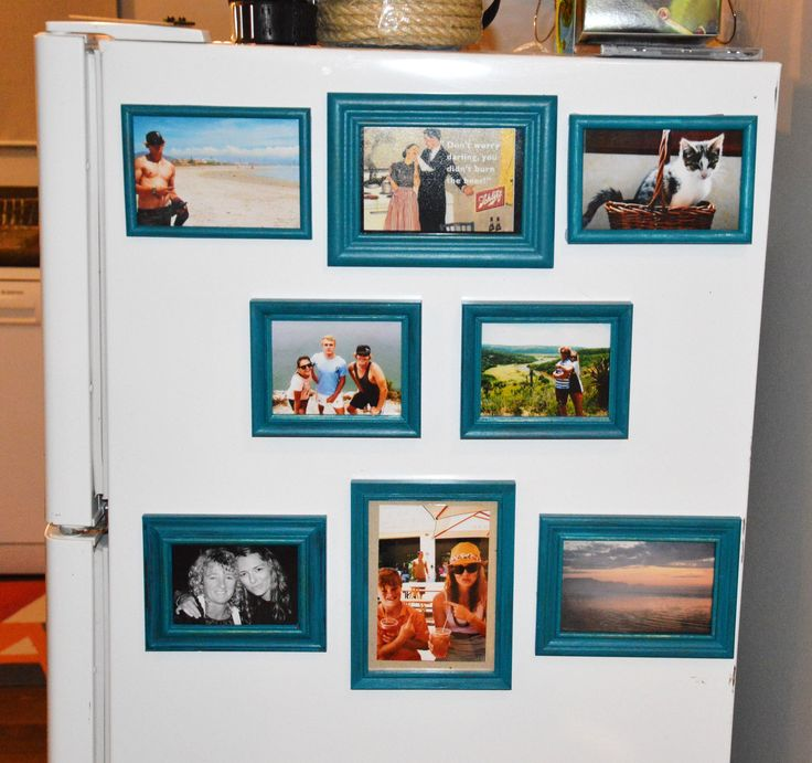 Boring fridge on display? Make it a photo frame magnet memory wall :)
