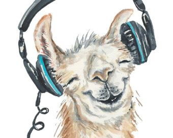 Llama Print Watercolor Painting 11x14 PRINT by WaterInMyPaint
