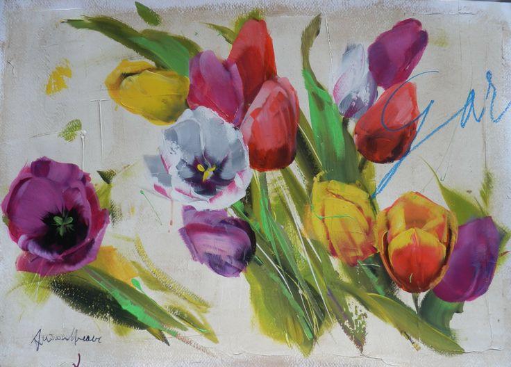 Antonio Massa - Tulipani Tecnica mista su cartoncino (opera unica)