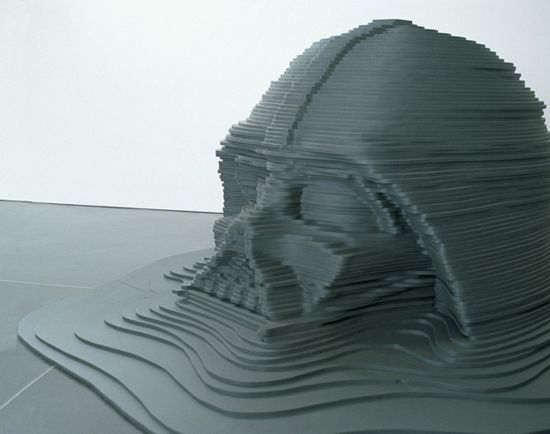 """Ricky Swallow, """"Model for a Sunken Monument,"""" 1999, MDF, acrylic"""