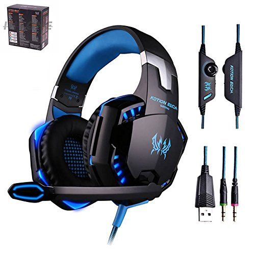 G2000 Gaming Headset Over-ear Professional Headphone Headset Bass Earphones 23.5mm LED Light Cool Style Stereo with Mic Noise Cancelling and Volume Control FANTASTIC SOUND:This amazing gaming headset has been carefully designed to provide you with a high quality sound and an omnidirectional noise reduction. COMFORTABLE TO USE: Earmuffs used with skin-friendly leather material, and super soft Over-ear pads that is more comfortable for long time wear. COOL LED LIGHT:Glaring LED