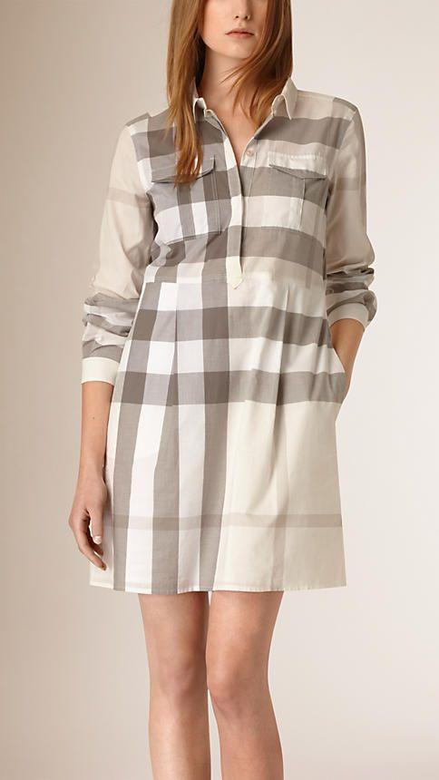 Natural Check Cotton Shirt Dress - Image 1