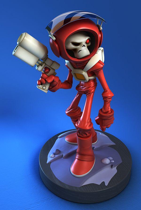 """SkullChaser, 3D Sculpt of Luis Gomez-Guzman. 3D sculpt from a 2D character called """"SkullChaser"""", original design By Jake Parker"""