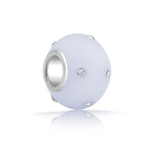 Bling Jewelry Silver Frosted Glass Opalite Crystal Bead Fits Pandora