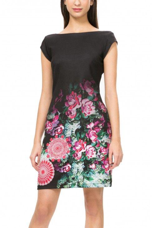 Desigual tmavé šaty Georgia s fialovými květy