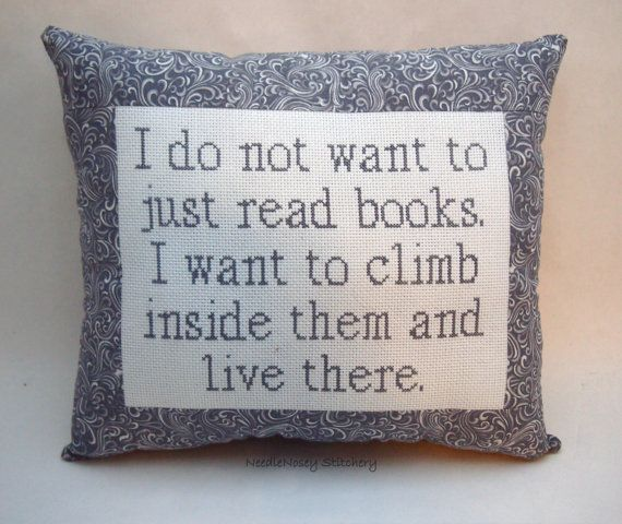 Funny Cross Stitch Pillow Gray Pillow Reading Quote by NeedleNosey, $25.00