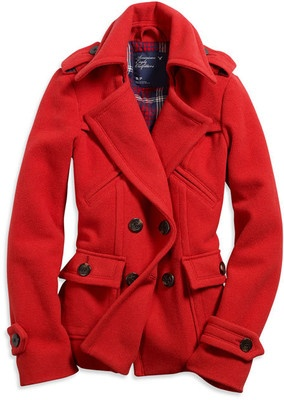 I REALLY want a red pea coat like this!
