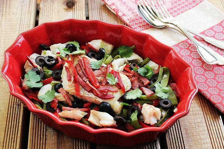 Cozinhadaduxa: Salada de Bacalhau Fresco em Cama de Feijão Verde