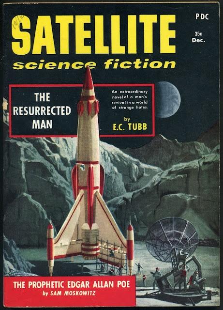 December 1958: Fiction Pulp, 1958, Rocket, Satellite Science, Illustration, Pulp Cover, Science Fiction, Photo
