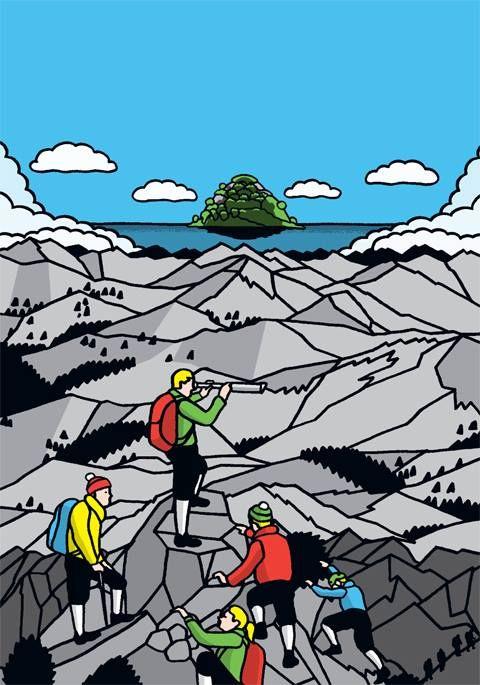 "Illustration by Jukka Pylväs for ""Näe, koe, tee"" -strategy guide commissioned by Aalto University's ""Kolmas Lähde"" project, 2014"
