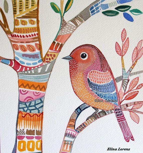 Bird Art Original Watercolor painting Colorful por sublimecolors