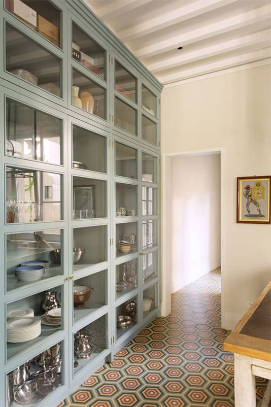 glass cupboards + that floor! gorgeous storage.