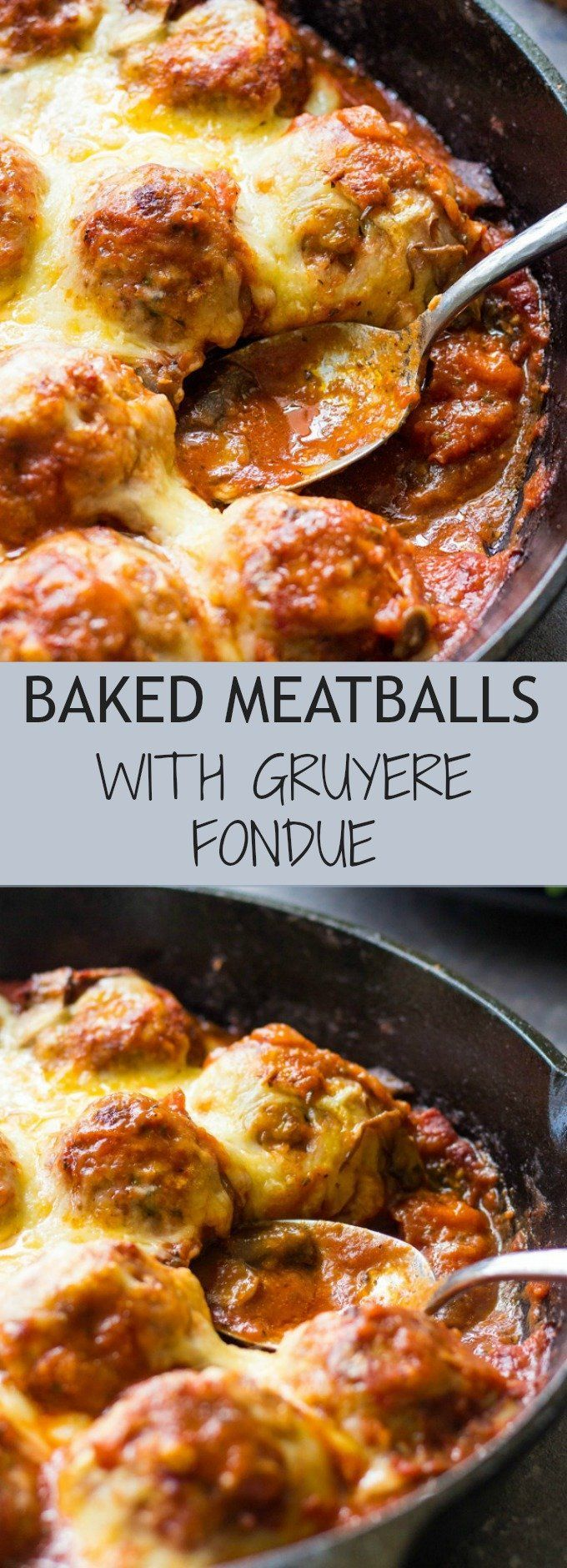 Baked Meatballs with Mushrooms and Gruyere Fondue
