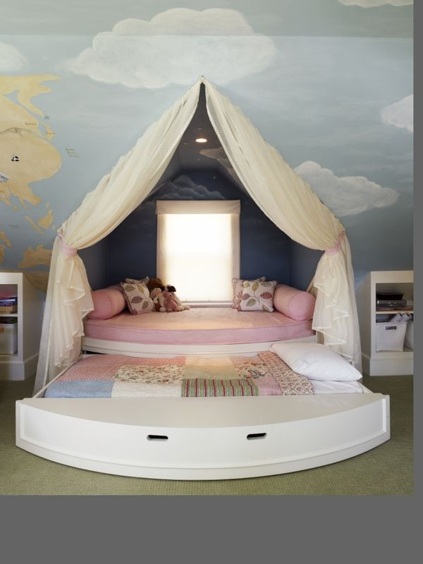 This would be perfect for an attic room..... Cute girls room