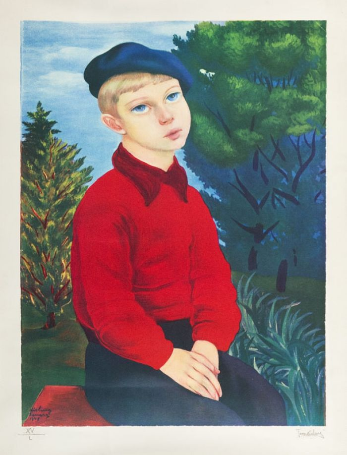 Mojżesz (Moise) Kisling - Portret chłopca, 1948 r.,litografia